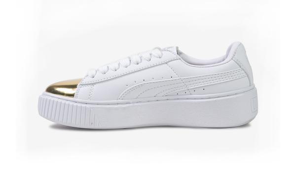 Giày thể thao PUMA Basket Platform Metallic Mũi Vàng Nữ