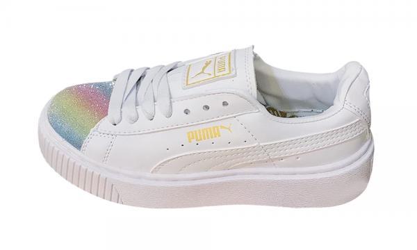 Giày thể thao PUMA Suede Platform Nhũ Rainbow Nữ